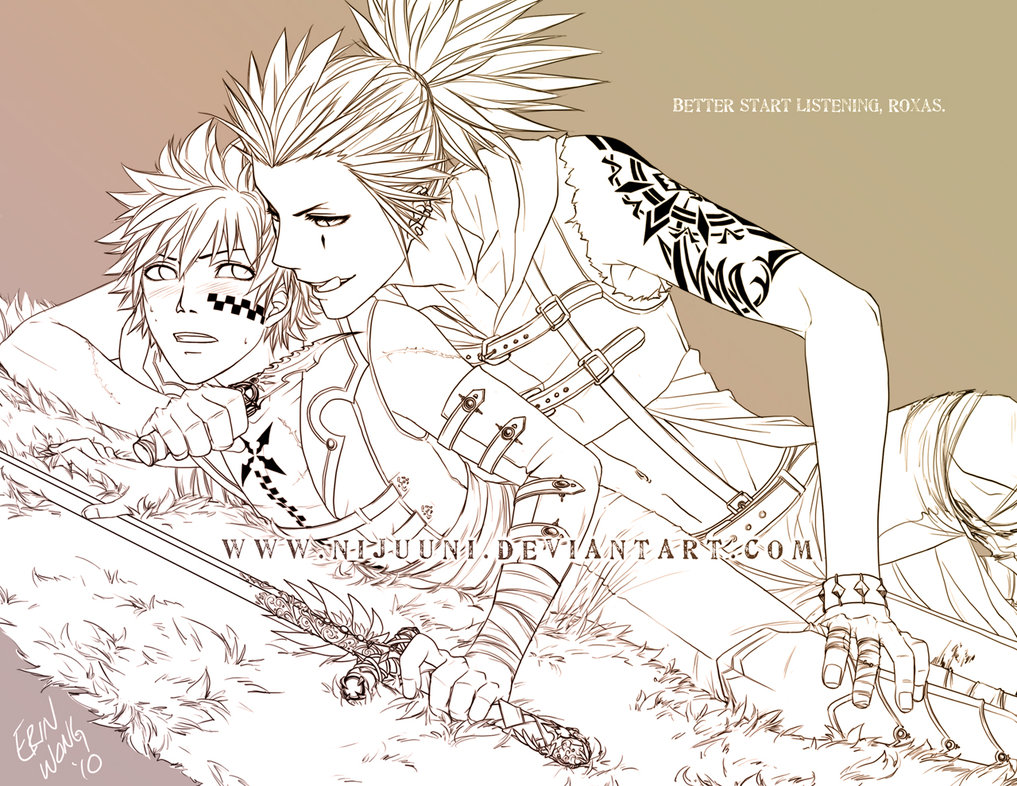 Axel with tattoos and Roxas with sword yaoi love sketch - Better start listening... kingdom-hearts-yaoi Yaoi desktop wallpapers Tattoos Roxas Axel AkuRoku - fanarts on yaoi-online.com