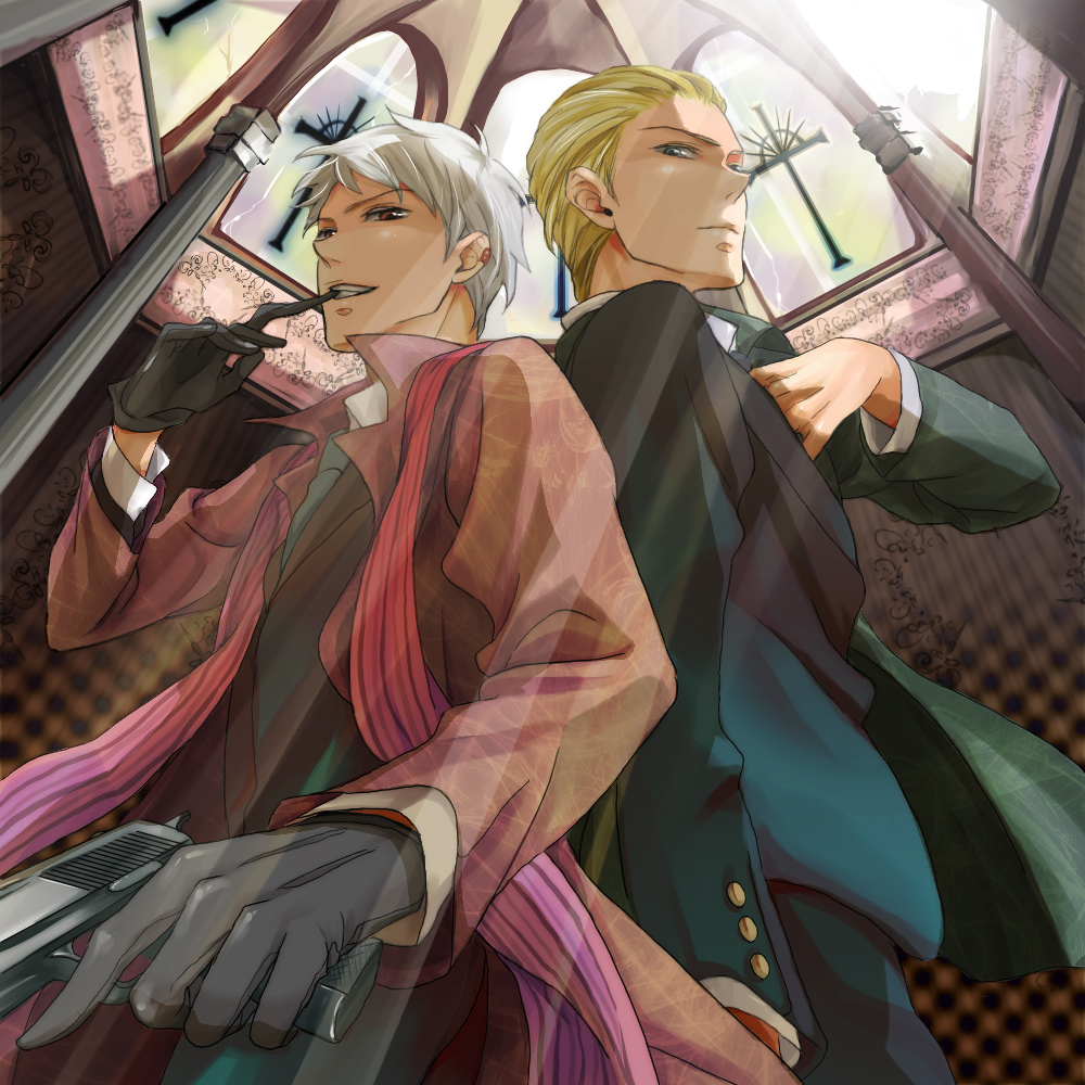 Axis Powers Hetalia fanart Prussia nad Germany in the church with a gun Ludwig x Gilbert Beilschmidt - Let's go hetalia-axis-powers-yaoi Yaoi avatars Ludwig (Germany) Guns Gilbert Beilschmidt (Prussia) - fanarts on yaoi-online.com