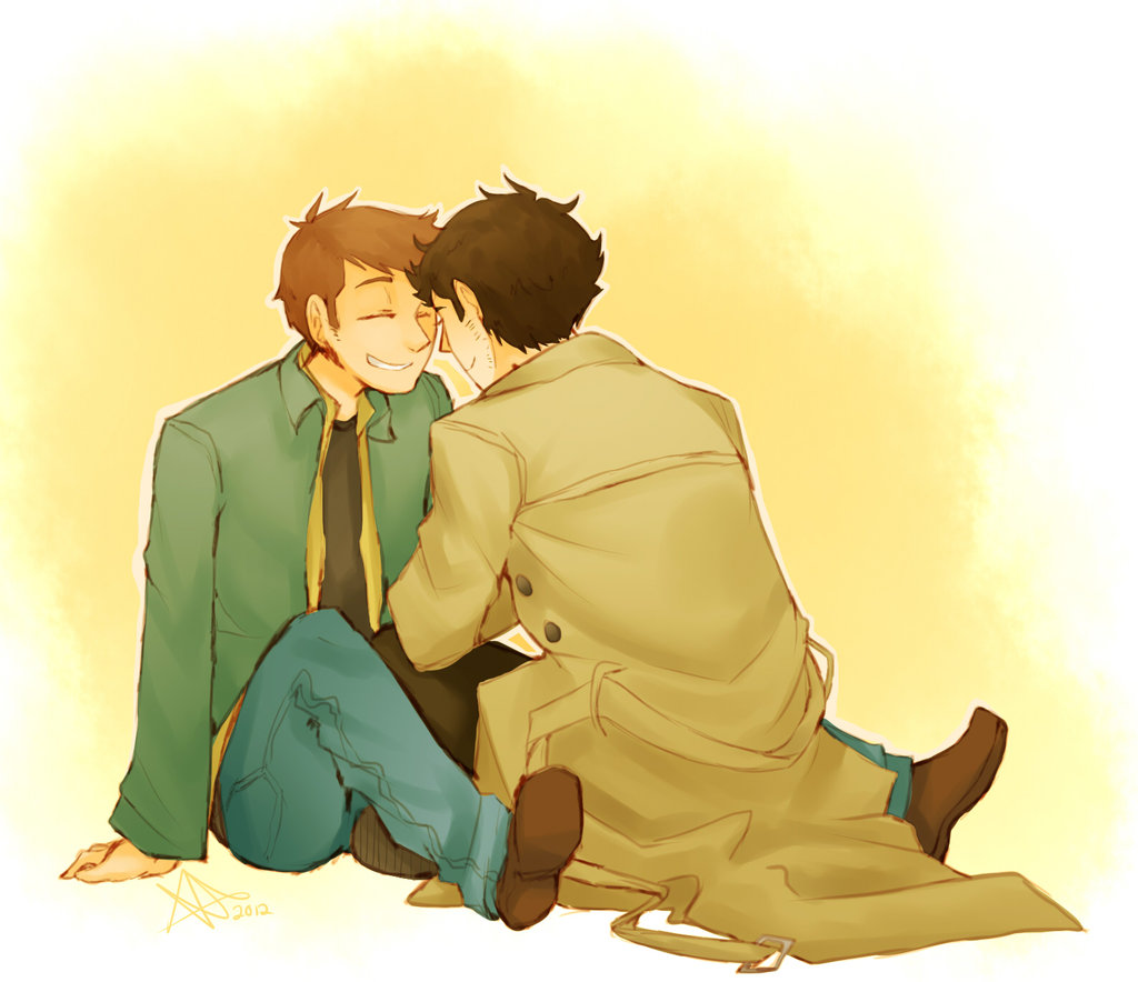 Destiel fanart Dean and Castiel in love Supernatural fanart - My smile is for you supernatural-yaoi Destiel Dean Winchester Castiel - fanarts on yaoi-online.com