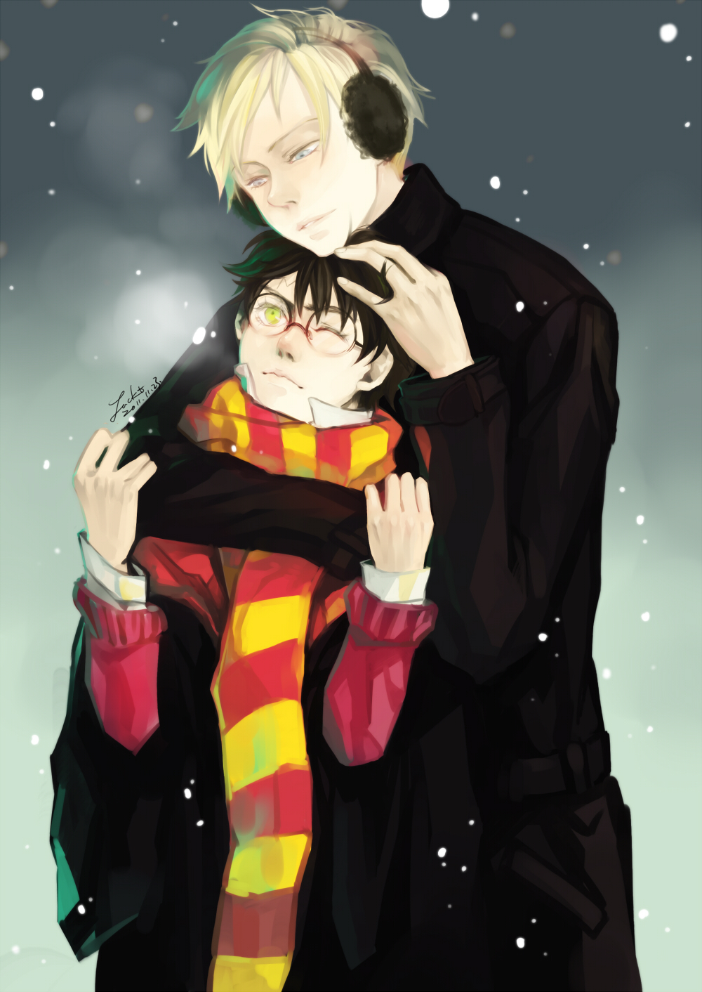 Draco Malfoy hugging Harry Potter on a winter day - A winter day harry-potter-yaoi Harry Potter Glasses Draco Malfoy - fanarts on yaoi-online.com
