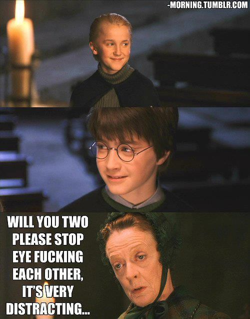 Harry Potter mem yaoi - will you two please stop eye fucking each other, its very distracting