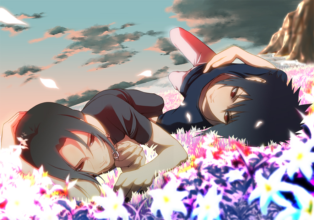 Itachi and Sasuke Uchiha ItaSasu yaoi fanart lying on flowers meadow wallpaper - Somewhere in his heart naruto-yaoi Sasuke Uchiha ItaSasu Itachi Uchiha - fanarts on yaoi-online.com