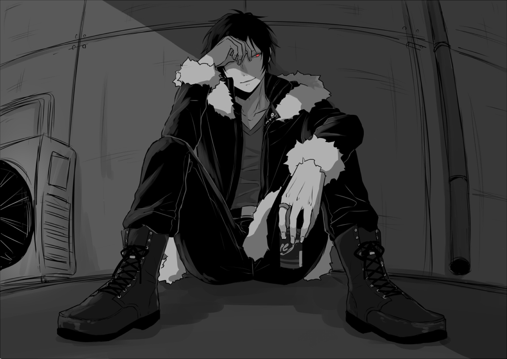 Izaya Orihara in heavy boots black and white fanart Durarara wallpaper - Heavy boots durarara-yaoi Izaya Orihara Bad boy - fanarts on yaoi-online.com