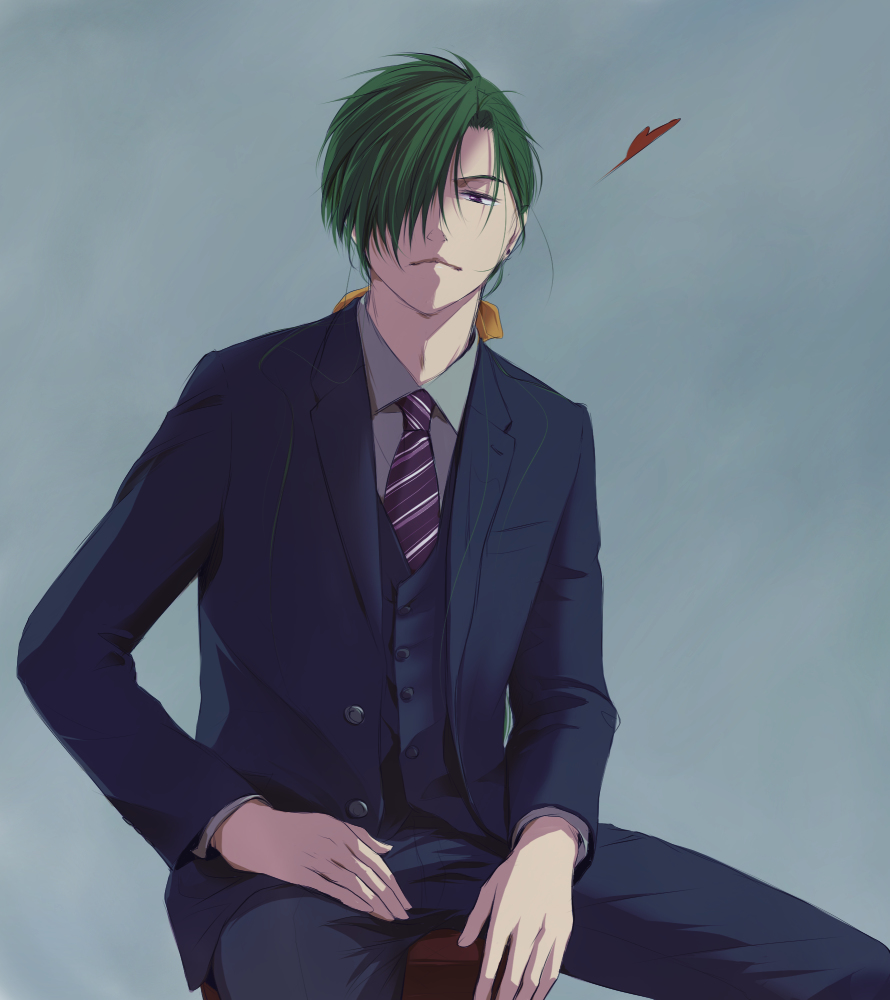 Jae ha from Akatsuki no Yona in suit with tie bishounen anime boy with green hair - Hello there akatsuki-no-yona-yaoi Seme Jae-Ha Formal wear - fanarts on yaoi-online.com