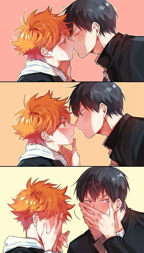 Kageyama x Hinata yaoi phone wallaper - First kiss haikyuu-yaoi Yaoi phone wallpapers Kissing Kageyama Tobio KageHina Hinata Shōyō - fanarts on yaoi-online.com