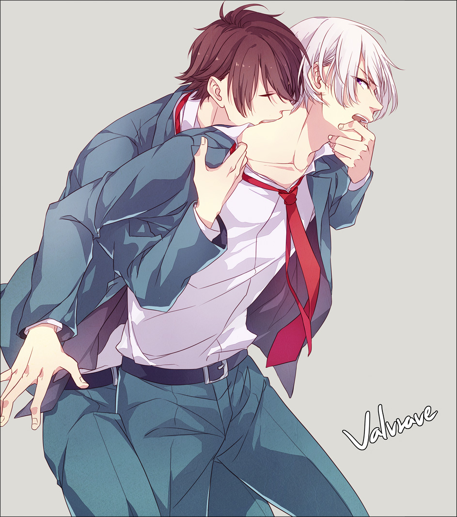 Kakumeiki Valvrave yaoi fanart Tokishima Haruto biting and kissing L Elf Karlstein on the neck - Biting and kissing miscellaneous-yaoi Vampire Formal wear - fanarts on yaoi-online.com