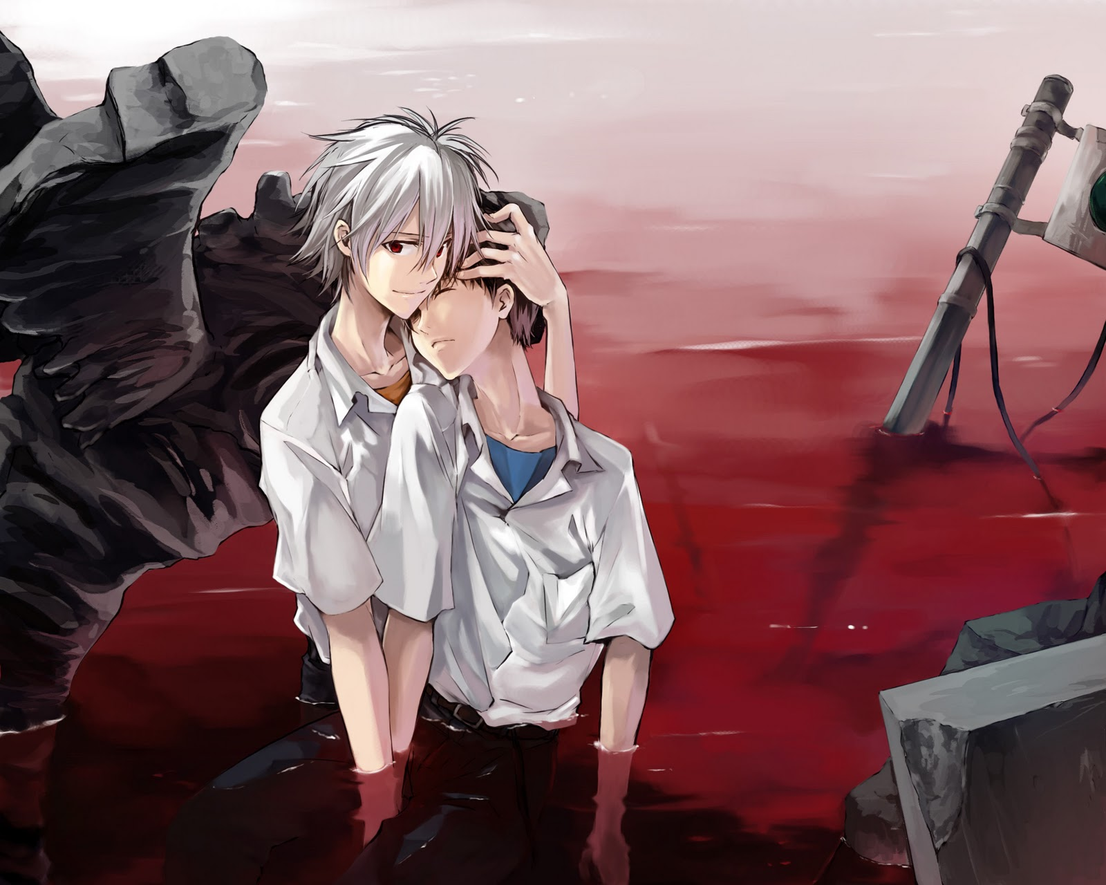 Kaworu and Shinji in pool of blood Neon Genesis Evangelion wallpaper - Ikari Shinji/Nagisa Kaworu neon-genesis-evangelion-yaoi Yaoi desktop wallpapers Nagisa Kaworu KawoShin Ikari Shinji Blood - fanarts on yaoi-online.com