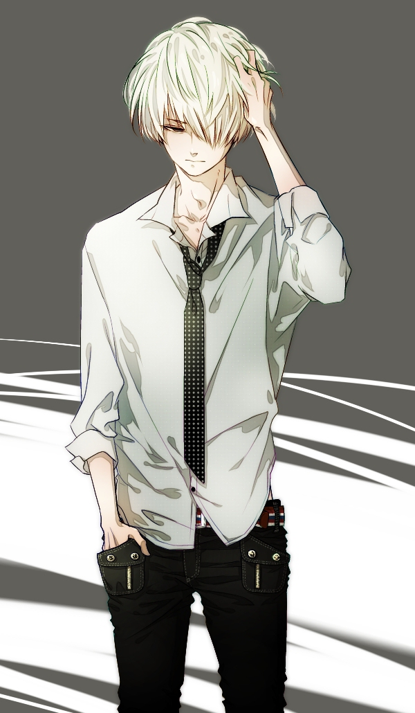 Ken Kaneki from Tokyo Ghoul cool anime white haired boy with white shirt and dotted black tie hot anime boy bishounen fanart - Hot Kaneki tokyo-ghoul-yaoi Seme Ken Kaneki Bishōnen - fanarts on yaoi-online.com