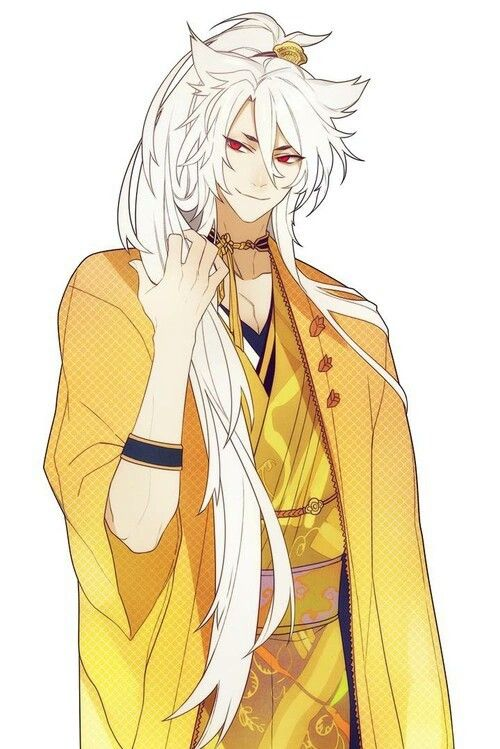 Kogitsunemaru from Touken Ranbu in golden clothes phone wallpaper - Kogitsunemaru touken-ranbu-yaoi Seme Long-haired Kogitsunemaru Kitsune boy Bishōnen - fanarts on yaoi-online.com