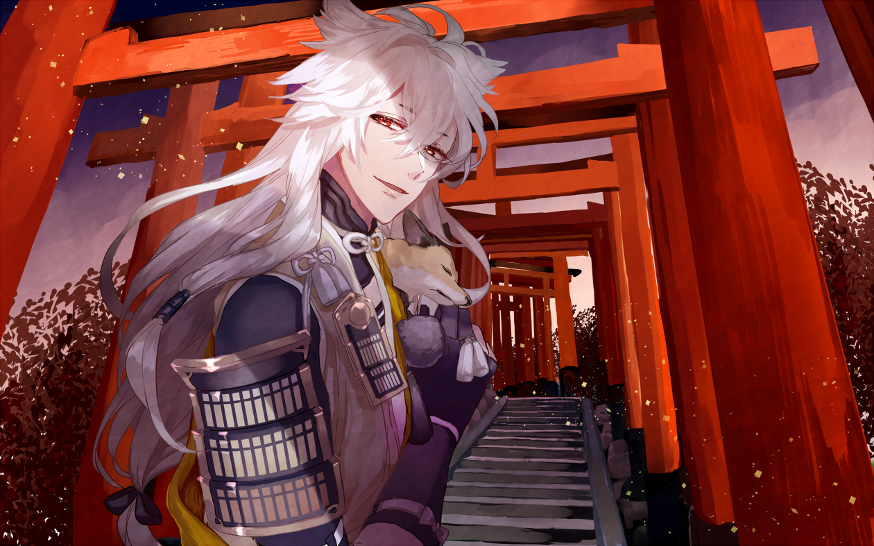 Kogitsunemaru with a fox under Torii japanese Touken Ranbu anime wallpaper - Follow me touken-ranbu-yaoi Yaoi desktop wallpapers Long-haired Kogitsunemaru Kitsune boy Bishōnen - fanarts on yaoi-online.com