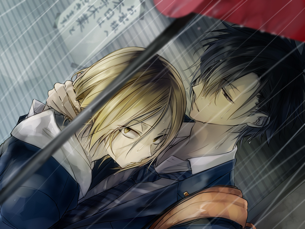 Kozume Kenma and Kuroo Tetsurou in the rain under red umbrella - Raining all around us haikyuu-yaoi Tetsurō Kuroo Kozume Kenma - fanarts on yaoi-online.com