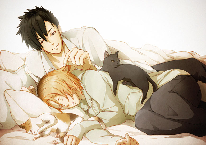Kozume Kenmaa and Kuroo Tetsurou on bed with cats - He is just like a cat haikyuu-yaoi Tetsurō Kuroo Sleeping Kozume Kenma - fanarts on yaoi-online.com