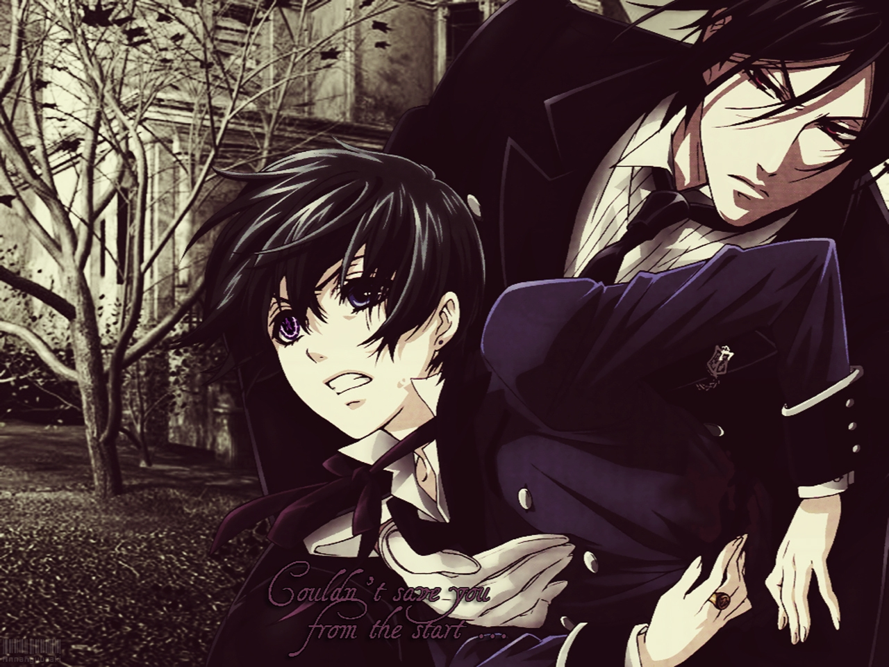 Kuroshitsuji wallpaper Black Butler fanart Ciel Phantomhive and Sebastian Michaelis on the forest mansion background Couldnt save you from the start - Couldn't save you... kuroshitsuji-black-butler-yaoi Yaoi desktop wallpapers Sebastian Michaelis Demon Ciel Phantomhive - fanarts on yaoi-online.com