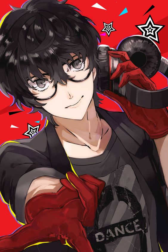 Kurusu Akira with glasses red background Persona fanart - Cute persona-yaoi Uke Kurusu Akira Glasses - fanarts on yaoi-online.com