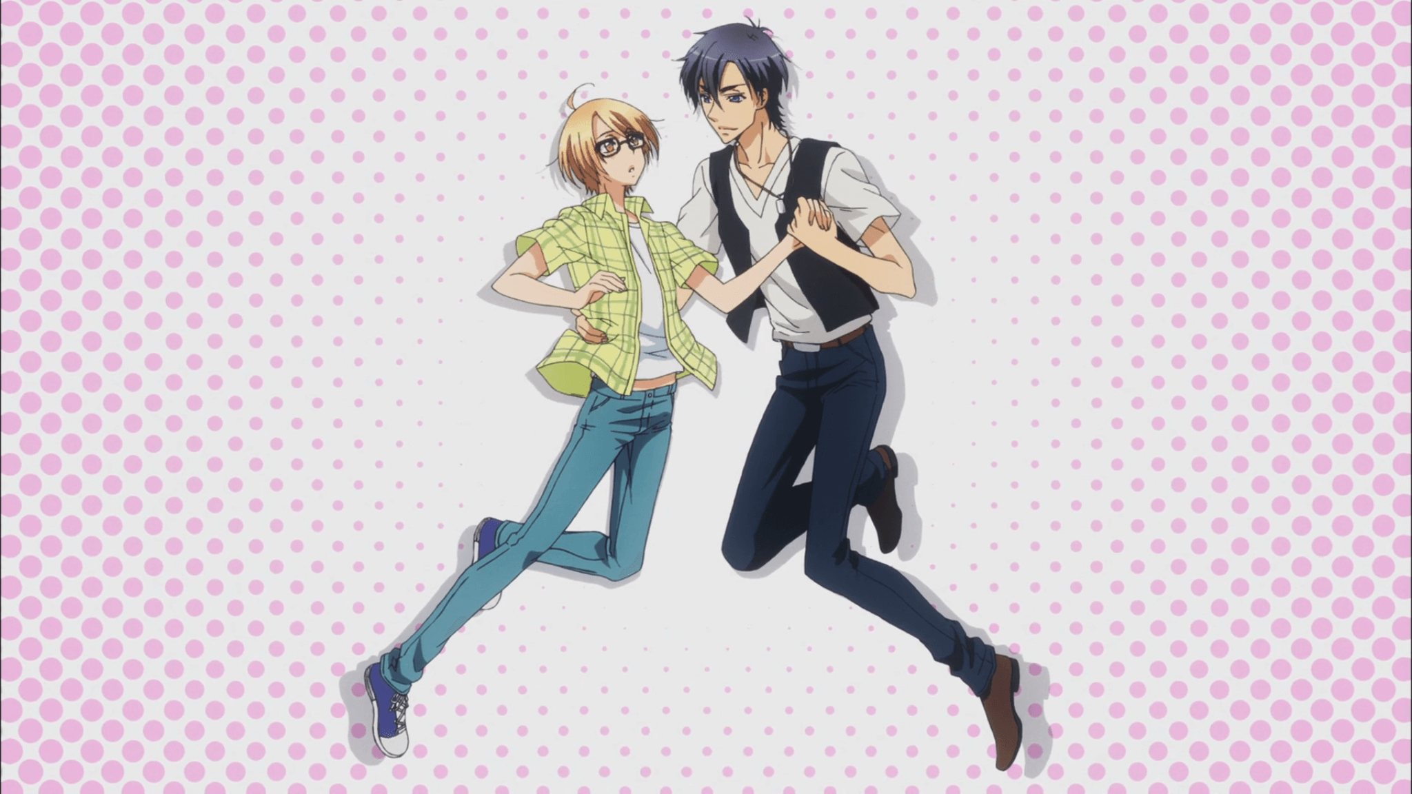 Love Stage yaoi wallpaper Izumi Sena and Ichijou Ryouma on pink background frame from anime - Ichijou Ryouma/Sena Izumi love-stage-yaoi Yaoi desktop wallpapers Ryouma Ichijou Izumi Sena - fanarts on yaoi-online.com