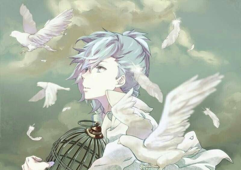 Mikaze Ai with white birds and a bird cage UtaPri fanart - Flying away uta-no-prince-sama-yaoi Uke Mikaze Ai - fanarts on yaoi-online.com