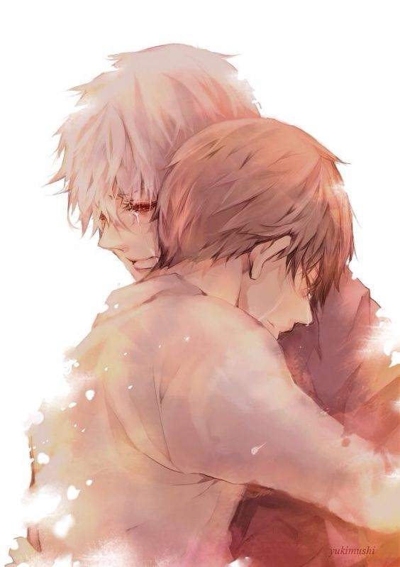 Nagachika Hideyoshi huggs crying Kaneki - No words needed tokyo-ghoul-yaoi Nagachika Hideyoshi Ken Kaneki Hugging HideKane Crying - fanarts on yaoi-online.com