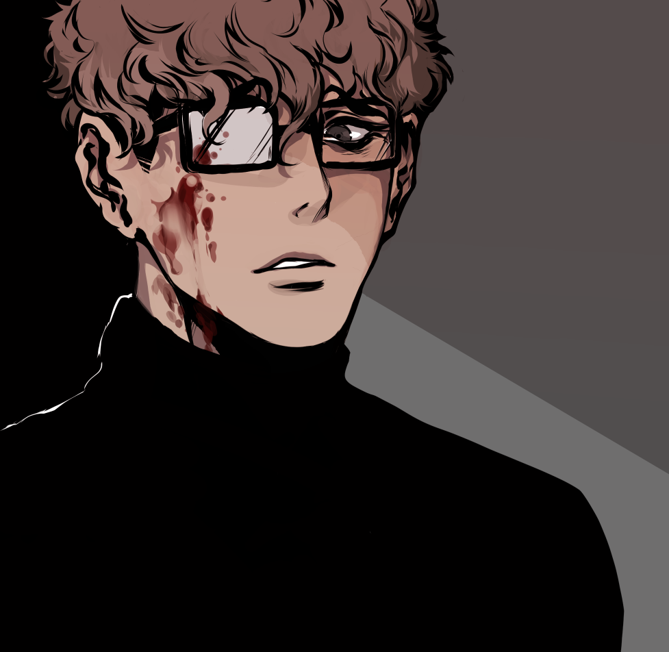Oh Sangwoo fanart with blood on his cheek and glasses - Psychopathy killing-stalking-yaoi Seme Oh Sangwoo Glasses Blood Bad boy - fanarts on yaoi-online.com