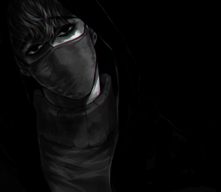 Oh Sangwoo in darkness with medical mask black fanart - In the darkness killing-stalking-yaoi Yaoi avatars Oh Sangwoo Monochrome - fanarts on yaoi-online.com
