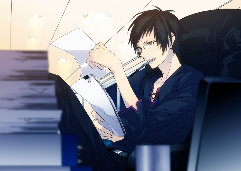 Orihara Izaya in galsses doing paperwork fanart from Durarara - Paperwork durarara-yaoi Izaya Orihara Glasses - fanarts on yaoi-online.com