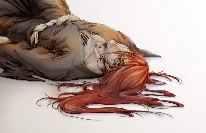 Renji Abarai lying on the ground sleeping or resting long haired bishounen aith red hair Bleach Renji fanart - Tired bleach-yaoi Tattoos Renji Abarai Long-haired - fanarts on yaoi-online.com