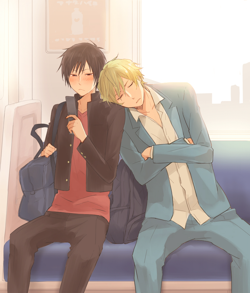 Shizuo Heiwajima sleeping on Izayas shoulder in the train - Sleeping on his shoulder durarara-yaoi Sleeping Shizuo Heiwajima Shizaya Izaya Orihara - fanarts on yaoi-online.com