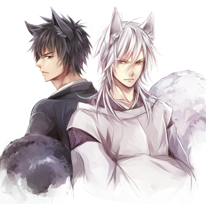 Shougo Makishima and Shinya Kougami with ears nekomimi yaoi fanart - Kougami x Makishima psycho-pass-yaoi Shogo Makishima Shinya Kogami Kitsune boy - fanarts on yaoi-online.com