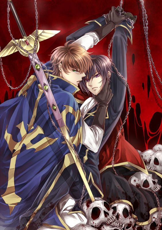 Suzaku and tied Lelouch on red background near skulls and sword - His knight code-geass-yaoi SuzaLulu Suzaku Kururugi Lelouch Lamperouge - fanarts on yaoi-online.com
