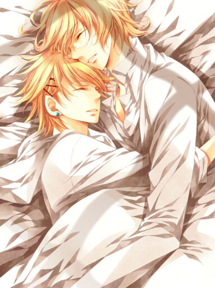 Syo x Natsuki Kurusu Syo and Shinomiya Natsuki sleeping together in white sheets embraced Uta no Prince sama yaoi fanart - Syo x Natsuki uta-no-prince-sama-yaoi Sleeping Shinomiya Natsuki Kurusu Syo Hugging Bishōnen - fanarts on yaoi-online.com