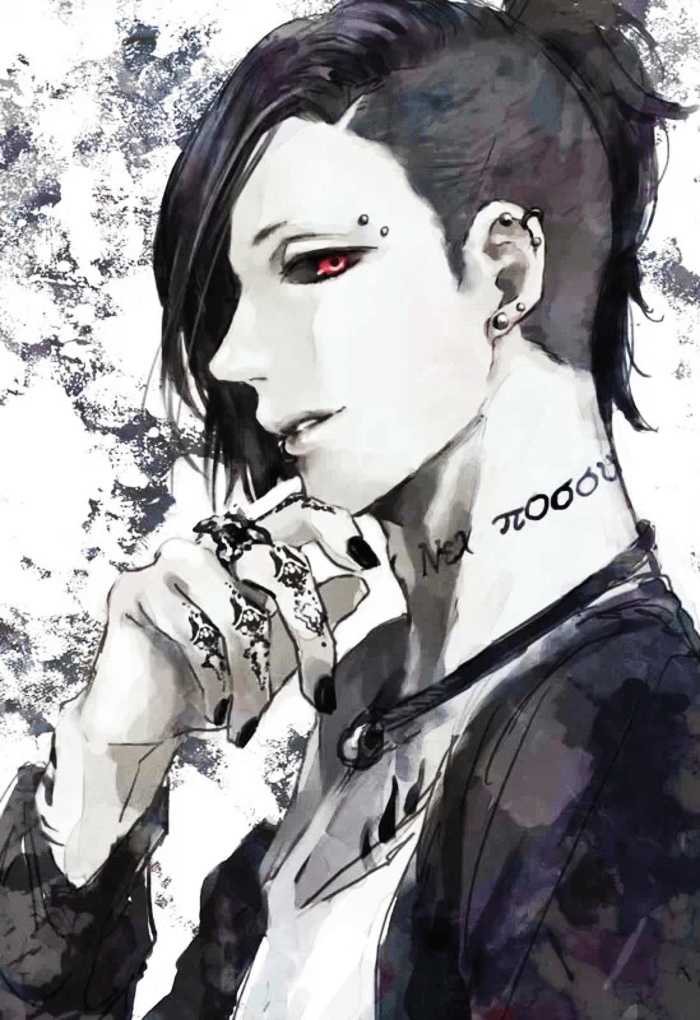Uta bishounen with tattoos piercings and long black fridge from anime Tokyo Ghoul - Uta from Tokyo Ghoul tokyo-ghoul-yaoi Uta Tattoos Piercing Bishōnen - fanarts on yaoi-online.com
