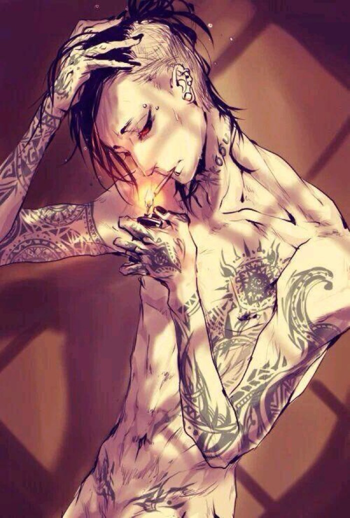 Uta from TG smoking a cigarette naked - No clothes tokyo-ghoul-yaoi Uta Uke Tattoos Smoking Piercing - fanarts on yaoi-online.com