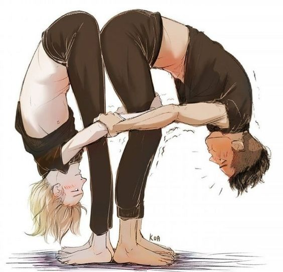 Yuri Plisetsky with Otabek Altin exercise Yuri on Ice yaoi fanart - Stretching time yuri-on-ice-yaoi Yuri Plisetsky OtaYuri Otabek Altin - fanarts on yaoi-online.com