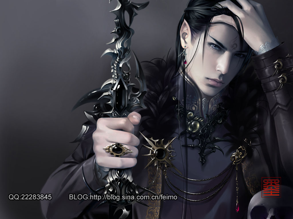 black haired and grey eyed bishounen handsome vampire elf man - Elf bishounen miscellaneous-yaoi Vampire Seme Long-haired Elf Bishōnen - fanarts on yaoi-online.com