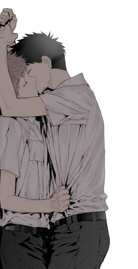 boys love two boys kissing near the wall - Boys love~ miscellaneous-yaoi Kissing - fanarts on yaoi-online.com