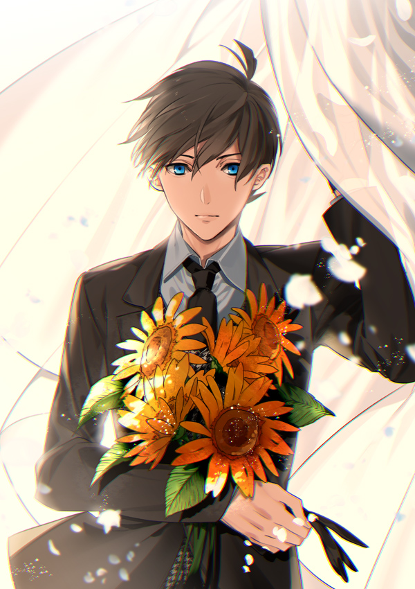 cute anime boy in suit holding sunflowers with ble eyes and brown hair - A bouquet of sunflowers miscellaneous-yaoi Uke Formal wear Cute - fanarts on yaoi-online.com
