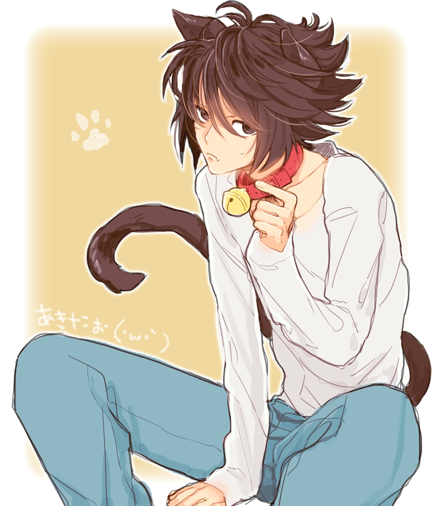 neko L Lawliet Ryuuzaki Death Note fanart with red collar and bell - Neko L death-note-yaoi Uke Neko boy L Lawliet Cute - fanarts on yaoi-online.com
