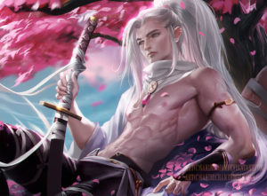 White-haired elf under the cherry blossom