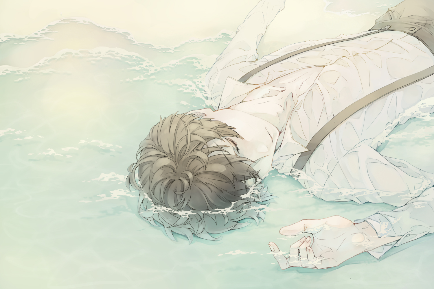 91 Days ending Angelo Lagusa in wet clothes lying in the shallow water with closed eyes melancholic fanart what really happened Avilio Bruno 91 Days yaoi sleeping dreaming sad - Dreams about You 91-days-yaoi Yaoi desktop wallpapers Uke Sleeping Angelo Lagusa - fanarts on yaoi-online.com