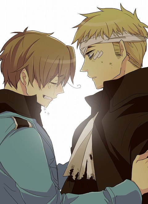 Axis Powers Hetalia Germany x North Italy sad and crying Feliciano Vargas holding arms of hurt and bandaged Ludwig Hetalia yaoi fanart GerIta - You're hurt again hetalia-axis-powers-yaoi Ludwig (Germany) GerIta Feliciano Vargas (North Italy) Crying - fanarts on yaoi-online.com