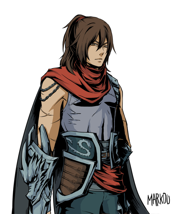 Dragonblade Talon skin LoL League of Legends fanart handsome assassin long brown hair red scarf - Enjoy the taste of steel league-of-legends-yaoi Uke Talon Long-haired - fanarts on yaoi-online.com