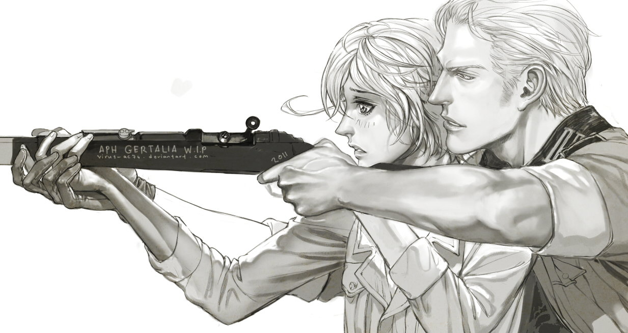 Germany x North Italy Hetalia APH yaoi fanart Ludwig teaching Feliciano Vargas how to aim and shoot helping him hold the rifle guns yaoi girly feminine uke boy and manly seme height difference - Aiming at your heart hetalia-axis-powers-yaoi Ludwig (Germany) Guns Feliciano Vargas (North Italy) - fanarts on yaoi-online.com
