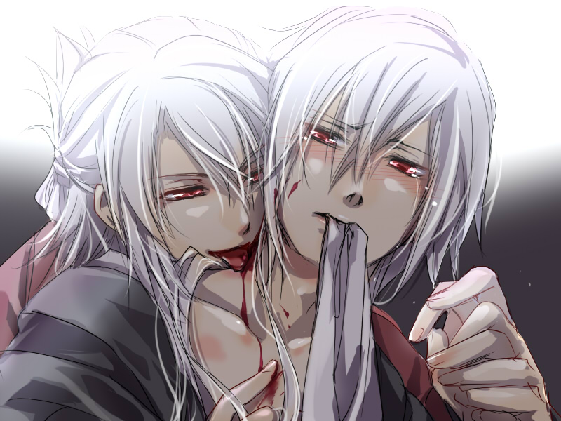 Hakuoki yaoi fanart white haired Okita Souji and Saitou Hajime vampire Souji biting Hajime on the shoulder licking blood albino yaoi boys white haired and red eyed white hair red eyes - White hair and red eyes hakuoki-shinsengumi-kitan-yaoi Vampire Souji Okita Saitou Hajime Blood - fanarts on yaoi-online.com
