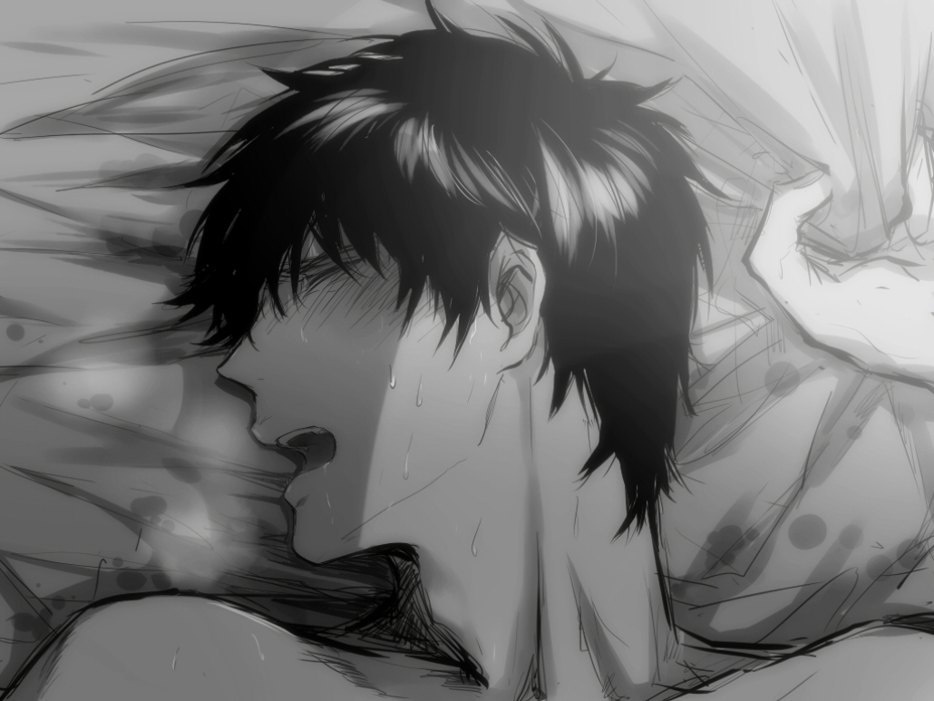 Hijikata Toushirou fanart on the bed with his eyes closed and sweating having pleasure Gintama yaoi fanart anime uke boy - Pleasure gintama-yaoi Uke Monochrome Hijikata Tōshirō - fanarts on yaoi-online.com