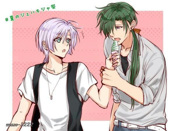 Kija x Jae ha yaoi fanart from Akatsuki no Yona Jeha holding Kija hand and licking his ice cream on pink background Yona of the Dawn yaoi green haired and violet haired anime boys - Let me lick it akatsuki-no-yona-yaoi Kija Jae-Ha - fanarts on yaoi-online.com