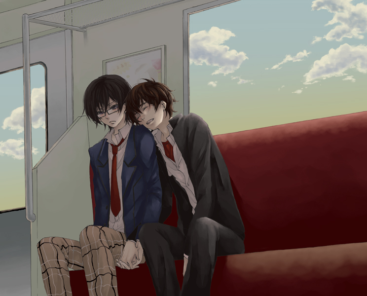 Kururugi Suzaku x Lelouch Lamperouge Code Geass yaoi fanart travelling together by a train and holding hands Lelouch with glasses SuzaLulu cute yaoi couple school yaoi - Travelling by train code-geass-yaoi SuzaLulu Suzaku Kururugi Lelouch Lamperouge Glasses - fanarts on yaoi-online.com