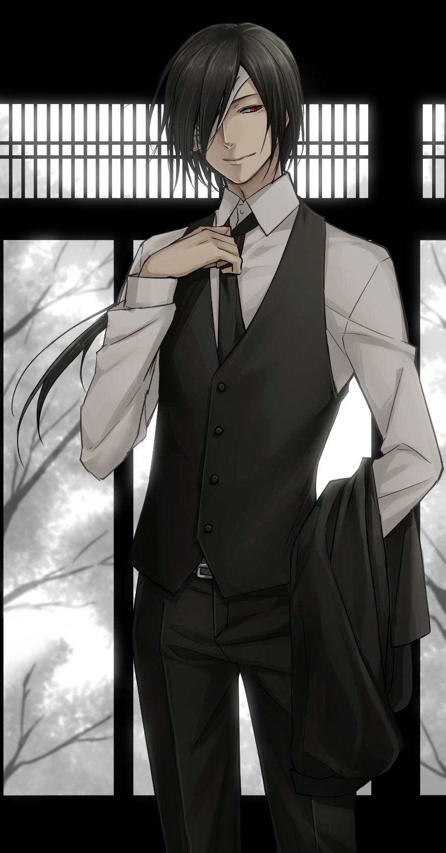 Matoba Seiji from Natsume Yuujinchou wearing a black and white suit white shirt vest and a tie black haired bishounen with red eyes looking like a demon mafia or a butler anime suit man handsome seme - Sinister and charming natsume-yuujinchou-natsumes-book-of-friends-yaoi Seme Matoba Seiji Long-haired Formal wear Demon Bishōnen - fanarts on yaoi-online.com
