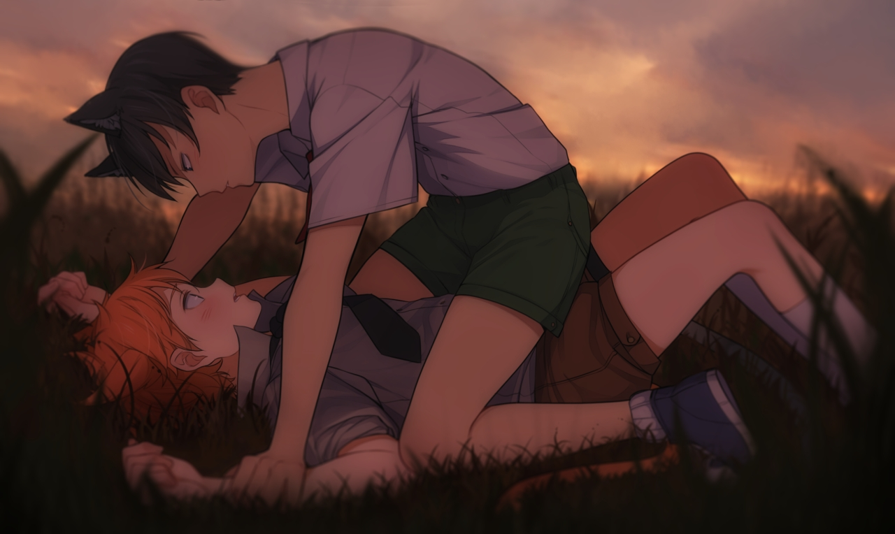 Neko Hinata Shoyo and Kageyama Tobio Haikyuu yaoi fanart lying on the grass Tobio pinning Shouyou down and holding his arms cute KageHina fanart Hinata x Kageyama Haikyuu wallpaper nekomimi - Neko Hinata x Kageyama haikyuu-yaoi Yaoi desktop wallpapers Neko boy Kageyama Tobio KageHina Hinata Shōyō - fanarts on yaoi-online.com