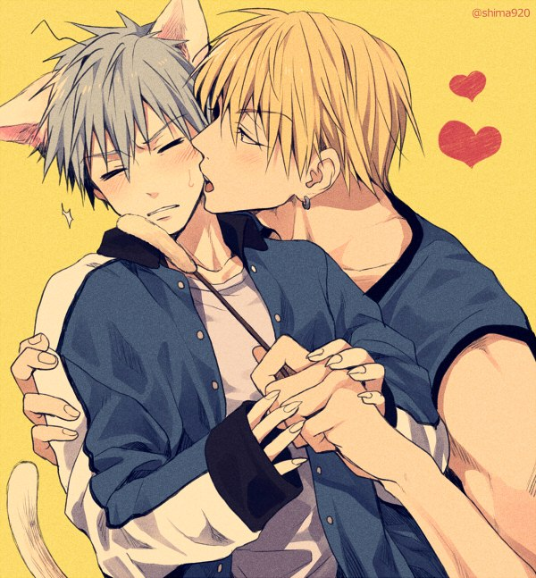 Neko uke Kuroko x Kise cute Kuroko no Basuke yaoi fanart KuroKise Kise trying to kiss Kuroko on the cheek nekomimi Kuroko cat ears and tail blushing wearing too big jumper and looking adorable - Kitty love kuroko-no-basket-yaoi Yaoi avatars Tetsuya Kuroko Ryōta Kise Neko boy KuroKise - fanarts on yaoi-online.com