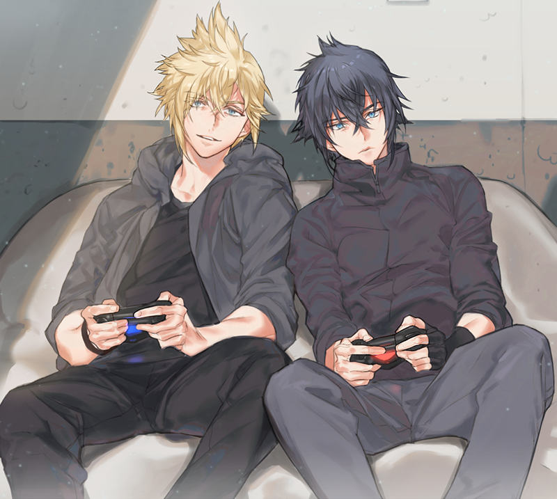 Noctis Lucis Caelum and Prompto Argentum playing video games together a cute Final Fantasy XV yaoi fanart Promtis two cool anime boys playing video or console games boys love fanart Noctis x Prompto - Console games final-fantasy-yaoi Prompto Argentum Noctis Lucis Caelum Cute - fanarts on yaoi-online.com