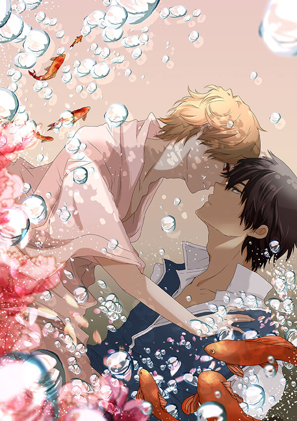 Okita Sougo x Hijikata Toushirou Gintama yaoi two boys yaoi fanart Koi fish Shounen ai boys love phone wallpaper - Koi fish gintama-yaoi Okita Sougo Hijikata Tōshirō - fanarts on yaoi-online.com